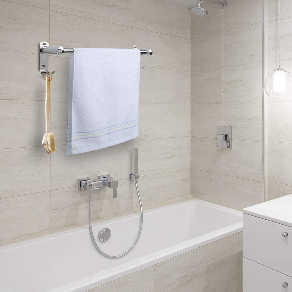 Toallero 50 CM con gancho pared, CHOELF Max 8KG estanteria baño toallero pared adhesivo con ganchos de acero inoxidable, Toalleros de gancho para baño con ...