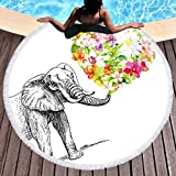 Sleepwish Thick Round Beach Towel Terry, Elephant Beach Blanket, Beach Roundie Circle Yoga Mat with Fringe, Bohemian Elephant Beach Tapestry (Flower Heart, 60'')