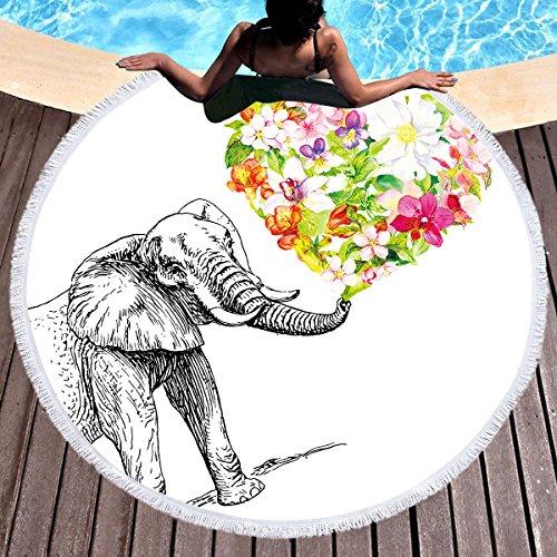 Sleepwish Thick Round Beach Towel Terry, Elephant Beach Blanket, Beach Roundie Circle Yoga Mat with Fringe, Bohemian Elephant Beach Tapestry (Flower Heart, 60'') by Sleepwish