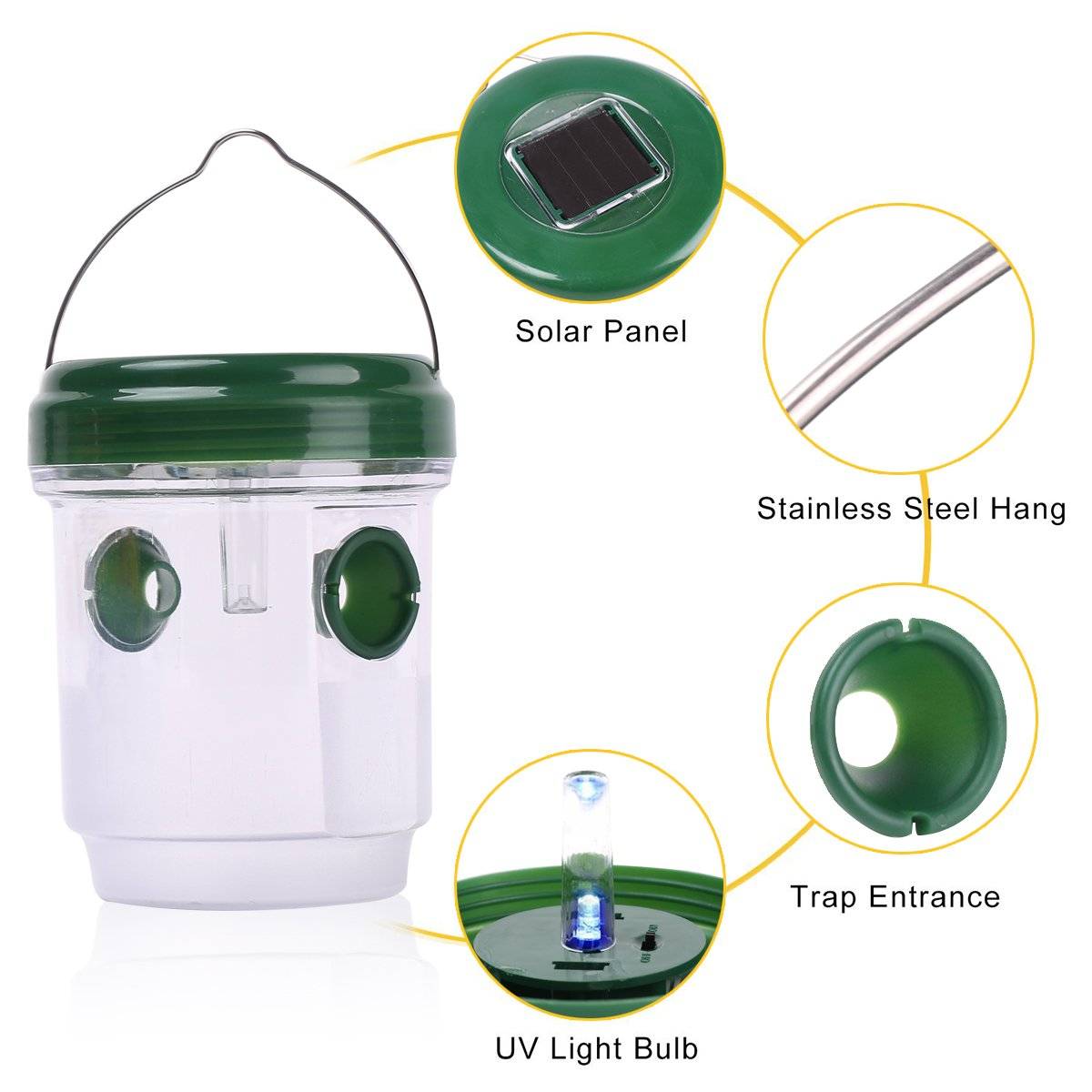 HUYIJJH Wasp Trap Catcher Solar Powered Killer Repellent Outdoor Reusable with Ultraviolet LED Light for Bees, Wasps, Hornets, Yellow Jackets and More (2 Pack)