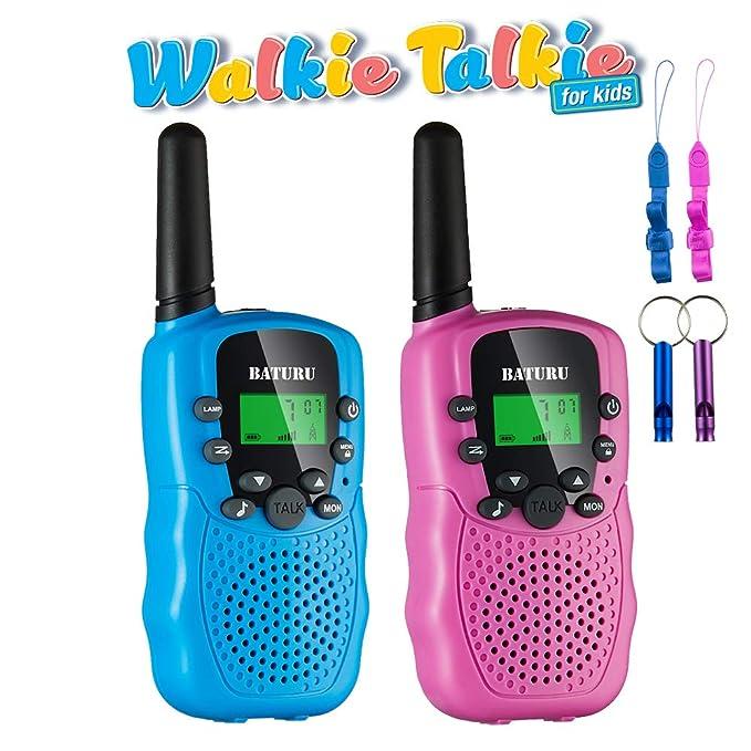 BATURU Walkie Talkies for Kids 3 Pack, 2 Way Radio Toy Walkie Talkie, 3 4 5 6 7 8 9 Year Old Toy Boys and Girls, Walky Talky Long Range (Pink+Blue(2 Pack))