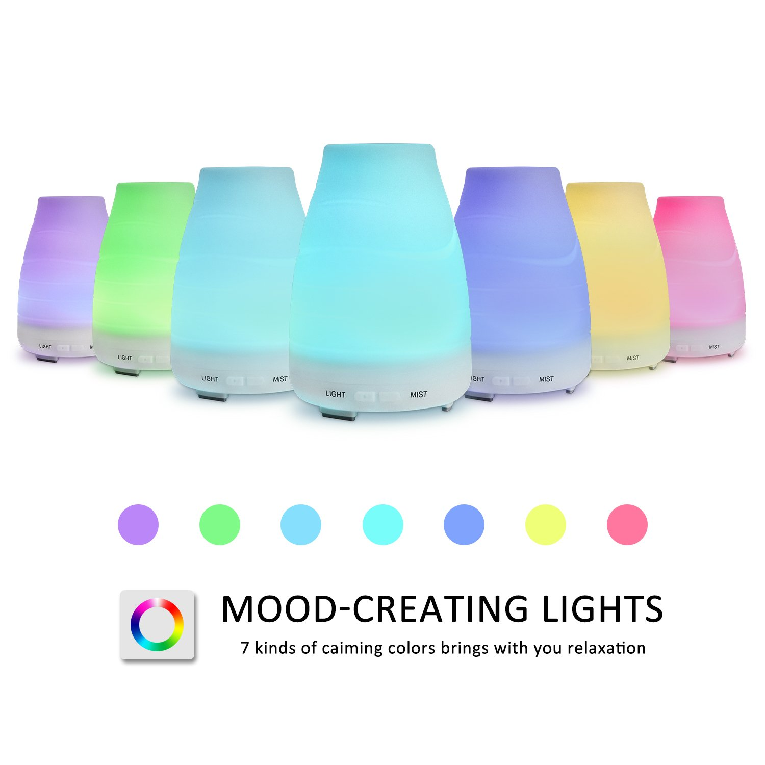 ESEOE 100ML Auto-Off Ultrasonic Diffuser, LED Colorful Night-Ligting Aromatherapy Diffuser for Home, Yoga, Office, Spa, Bedroom, Baby Room (C)