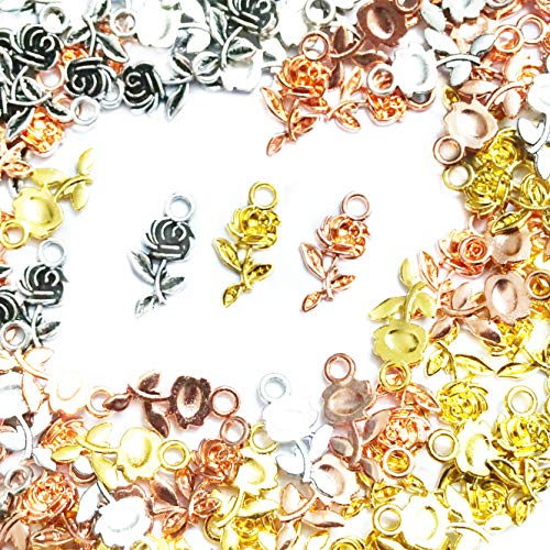 Xinhongo 150pcs Alloy Charms Pendants Rose Shape DIY Pendant Charms for Jewelry Making and Crafting,Making Bracelet and Necklace,Antique Silver,Gold and Rose Gold,21x11mm