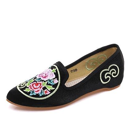 Zapatos Bordados De Mujer Suelas Blandas Pisos De Lona Slip On Loafer Alpargatas,Black,