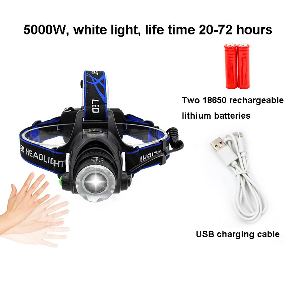 YYHSND LED Außenscheinwerfer Blendung Wiederaufladbare Einstellbare Super Helle Aluminium Wasserdichte Taschenlampe Taschenlampe