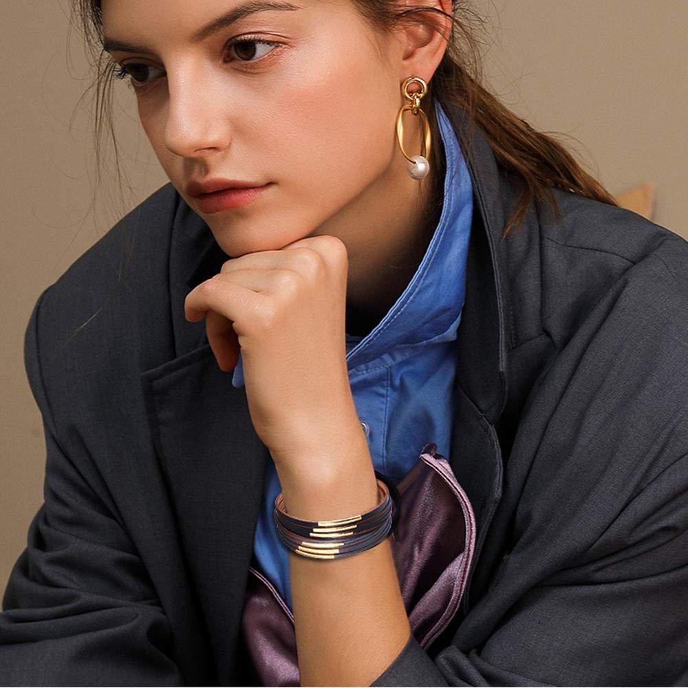 Noir et Gris Jurxy Bracelet de cuir Femmes boh/ème Bijoux de manchette Ceinture large en m/étal pour femme fille