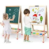 Kids Easel Double-Sided Magnetic Whiteboard & Chalkboard Multiple-Use Easel with Bonus Magnetics, Numbers, Paint Cups Best Gi
