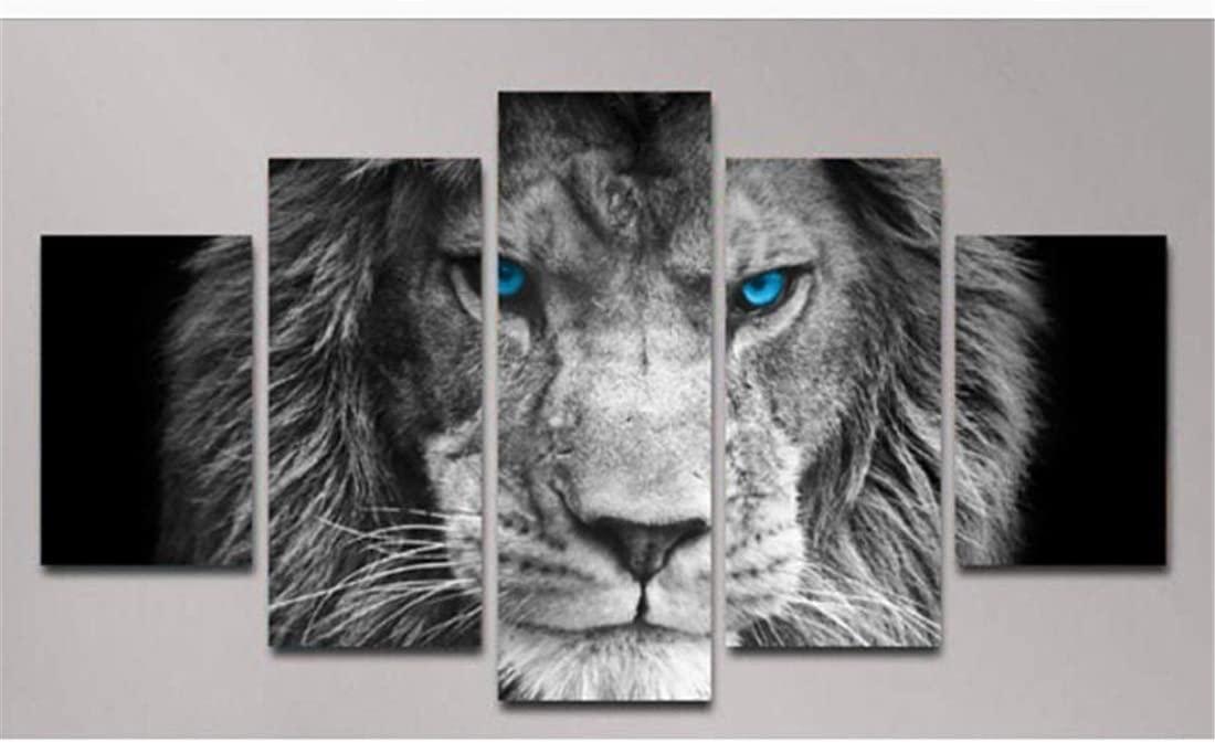 DOLUDO Wall Decor Blue Eye Lion Canvas Wall Art Paintings for Living Room 5 Canvas Panels Prints Poster for Bedroom Office Kitchen Framed Stretched Canvas Room Decor Ready to Hang