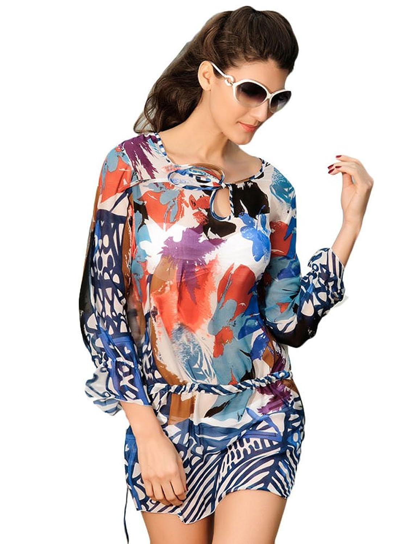 NICE BUY Damen Loose Strandkleid Sommer-Minikleid Sommerbluse mit Lange Ärmel