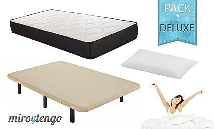 Pack Deluxe Descanso completo 90X190 (colchon + base tapizada + patas + almohada)