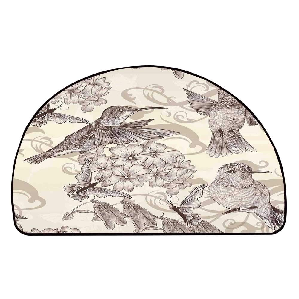 C COABALLA Hummingbirds Decor Comfortable Semicircle Mat,Birds and Flowers Monochromic Classical Design Nostalgia Ornate Festive for Living Room,11.8'' H x 23.6'' L