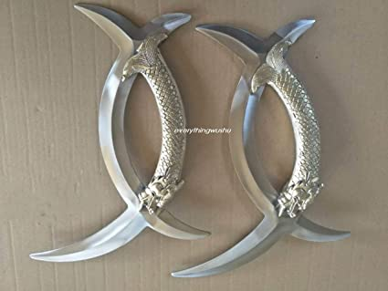 2 pieces Wushu Double Deer Horns Ba Gua Yue Zi Wu Yuan Yang Wu-Sold as a pair