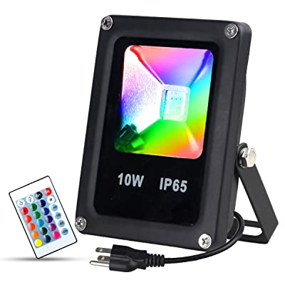 T-SUN 10W RGB Flood Lights, Outdoor Color Changing Waterproof LED Security Light, RGB Spotlight with Remote Control & US Plug for Garden, Yard, Warehouse, Sidewalk, Garage (10W)