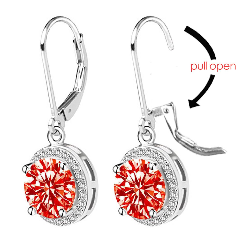 2f1a82b29 Jane Stone Women s 925 Sterling Silver Leverback Round Halo Earrings with Cubic  Zirconia EnyaJewelry E0076219I40-JS  1541573353-15856  -  9.03