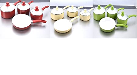 7 Piece Kitchen Cooking Set Non Stick Coated Saucepans Frying Pan With Glass Lid