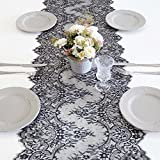 ARKSU Black Lace Table Runner 18x120 Inch for Rustic Wedding/Thanksgiving/Baby & Bridal Shower Party Decor