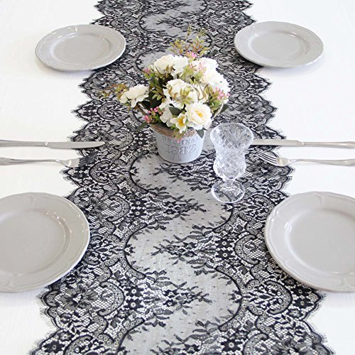 ARKSU Black Lace Table Runner 18x120 Inch for Rustic Wedding/Thanksgiving/Baby & Bridal Shower Party Decor -