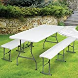 ProBache - Table pliante portable 180 cm et 2 bancs pliables pour camping buffet