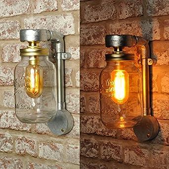 Kilner Jar Wall Lights : THE JONES Kilner Jar Wall Light New Industrial Style Vintage Retro Lighting Sconce works with ...