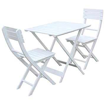 Merveilleux Bentley Garden Charles Wooden Garden Patio Furniture Bistro Set Table And  2 Chairs   White