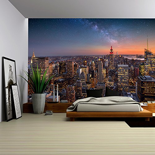 Cheap  wall26 - Milky Way over Manhattan, New York City - Removable Wall..