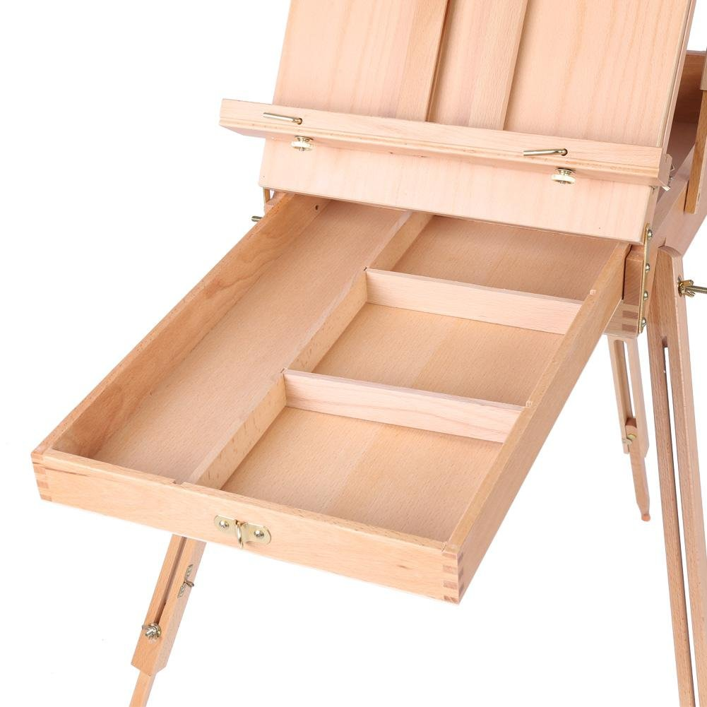 French Art Easel, 1pc Wooden Table Painting Easel Case Sketch Box Portable Folding Artist Painters Tripod with Shoulder Strap for Field Painting and Drawing(Large)(大号) by Zerone (Image #7)