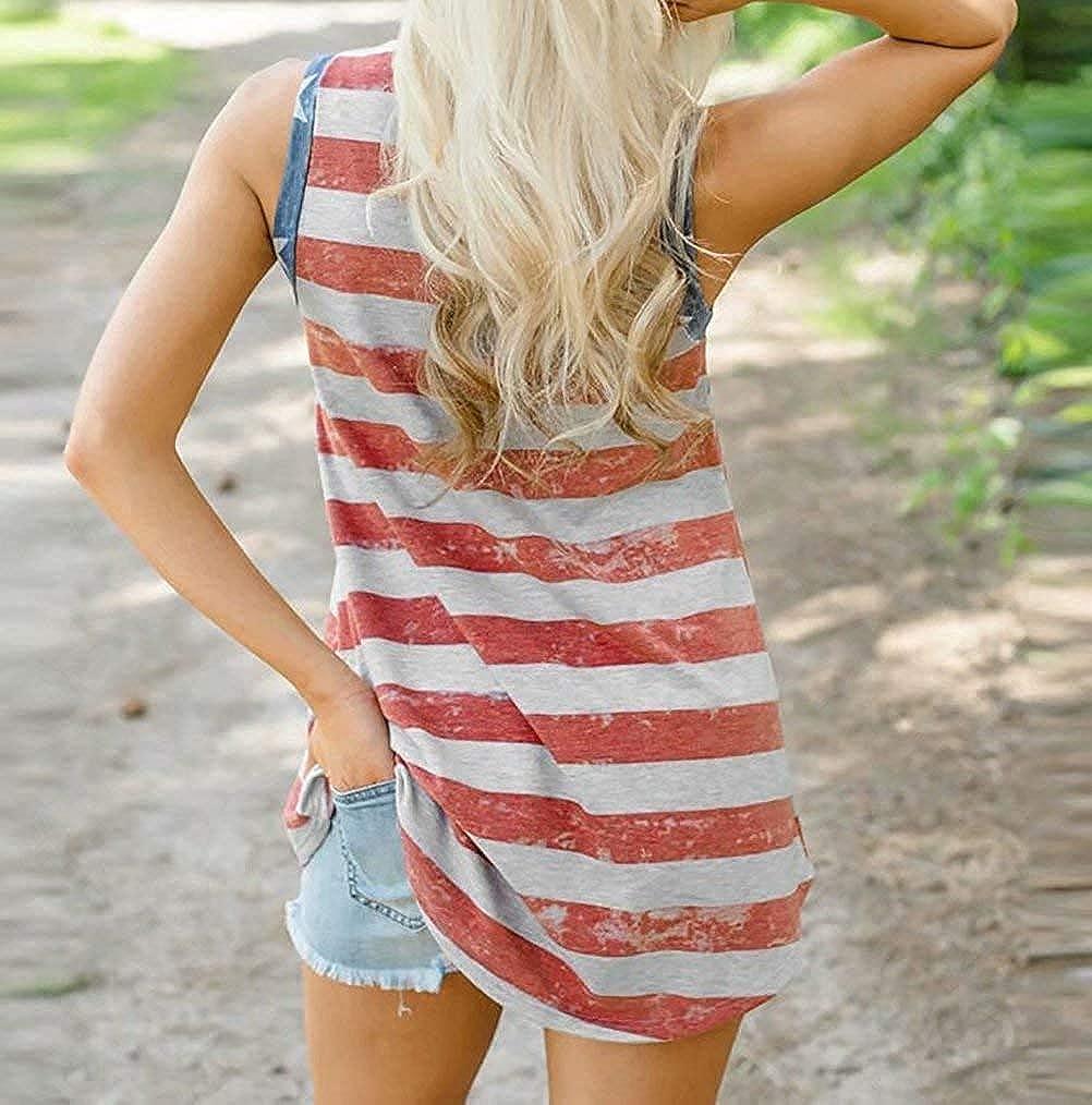Zarmfly Womens American Flag Tank Tops 4th of July Loose Sleeveless Stars Stripes Patriotic T Shirt
