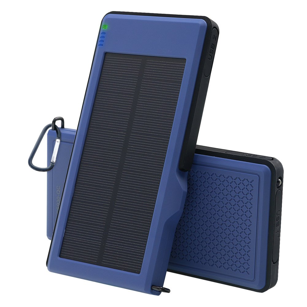 Solar Charger 10000mAh - VIGLT Portable Charger Quick Charge 3.0 Power Bank Solar phone Charger Dual USB Outdoor External Battery Waterproof for iPhone X 8 7 7s 6 Plus, Samsung Galaxy S7