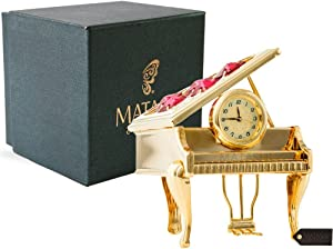 Matashi Vintage Piano Desk Clock for Shelf Desktop Tabletop Clock with a Luxury Gift Box - Gift for Musician New Year Valentines Day Christmas Birthday Anniversary Mother's Day (24 K Gold Plated)