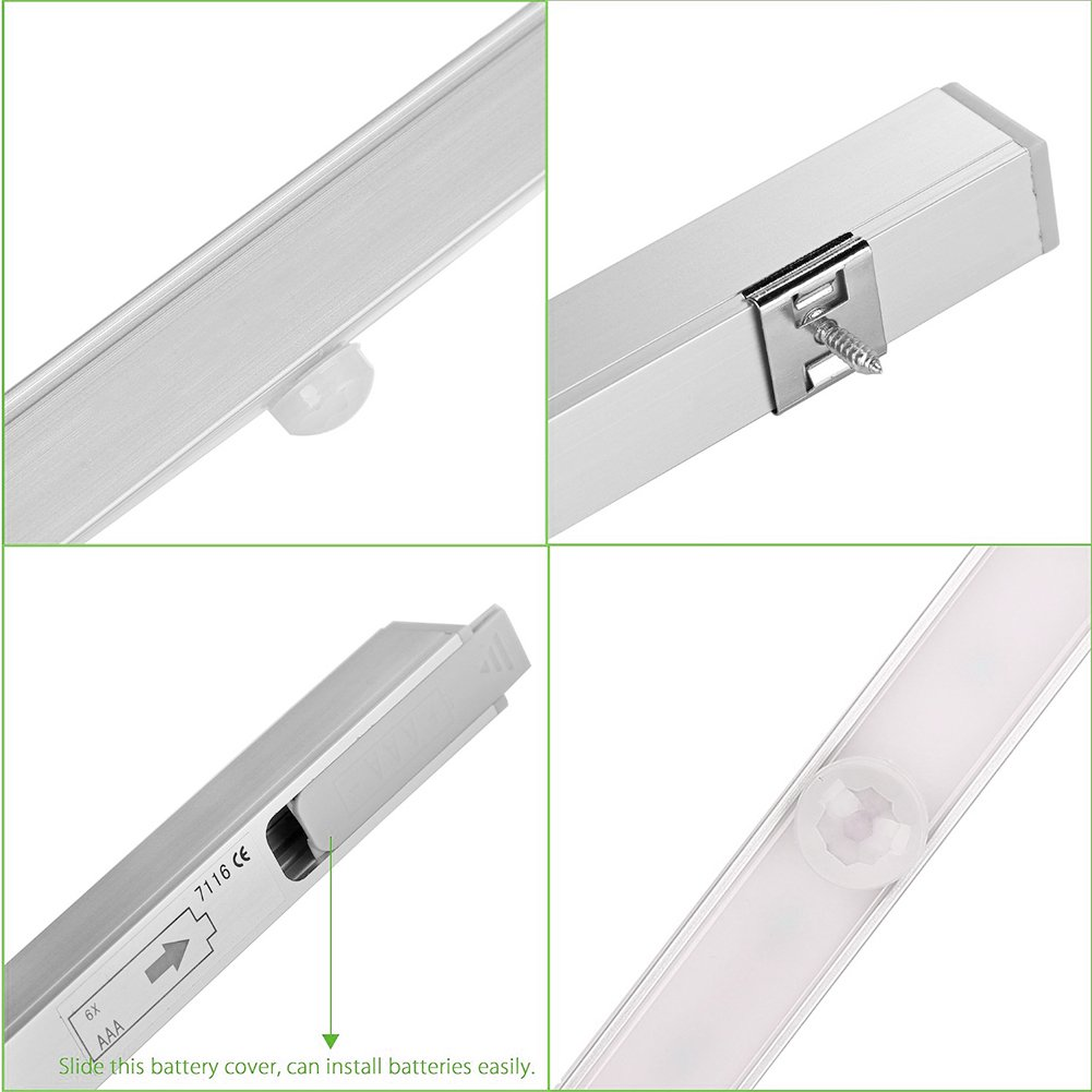 ... chrankbeleuchtung portátil DIY Stick de on Ideal para pared armario Barra de luz (Armario Luz de escalera - Lámpara con detector de movimiento (funciona ...