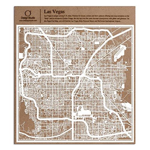 - Las Vegas Paper Cut Map by O3 Design Studio White 12×12 inches Paper Art