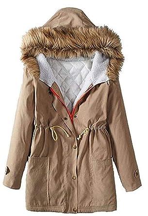 Mujer Chaqueta con Capucha Elegante Invierno Outdoor Jacket ...