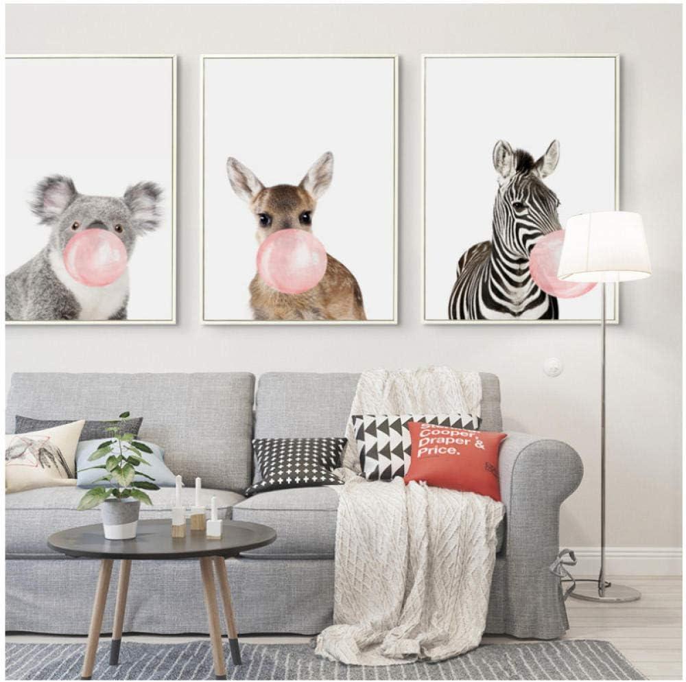 Girafe Z/èbre Animal Bulle Chewing Gum Affiches et Impressions Mur Art Toile Peinture Enfants Chambre B/éb/é Chambre D/écor Photo