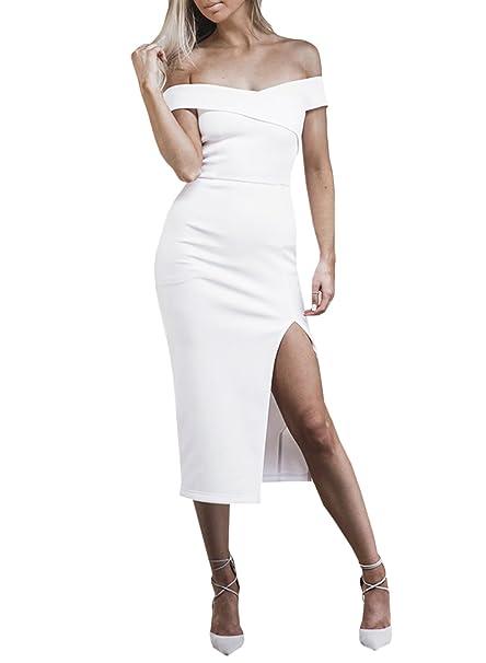 ACHICGIRL Mujer Vestido de Fiesta Midi Ajustado Abertura Alta Fuera de Hombro,blanco M
