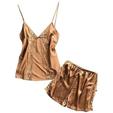 Women Sexy Satin Lingerie Lace Babydoll Bow Nightwear Nightgown Bralette Bra  Underwear Set (M