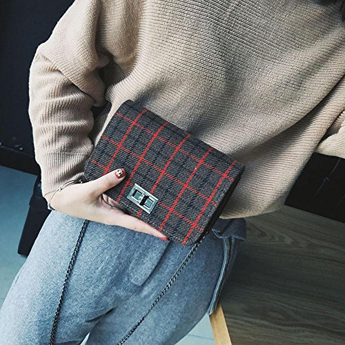 Plaid Mini Crossbody Women Bag Korean Chain Widewing Messenger Bag Square Shoulder f45qEzw