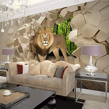 Picture Wall Design Custom Photo Wallpaper 3d Stereoscopic Lion Broken Wall Painting Wallpaper For Living Room Bedroom Walls Mural Amazon De Baumarkt