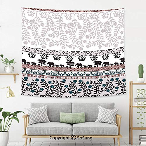 8' Wool Purse - Kitchen Decor Wall Tapestry,Vintage Elephants Floral Safari Design Border Banner Pattern Ribbon Pattern,Bedroom Living Room Dorm Wall Hanging,80X60 Inches,White Pastel Purple