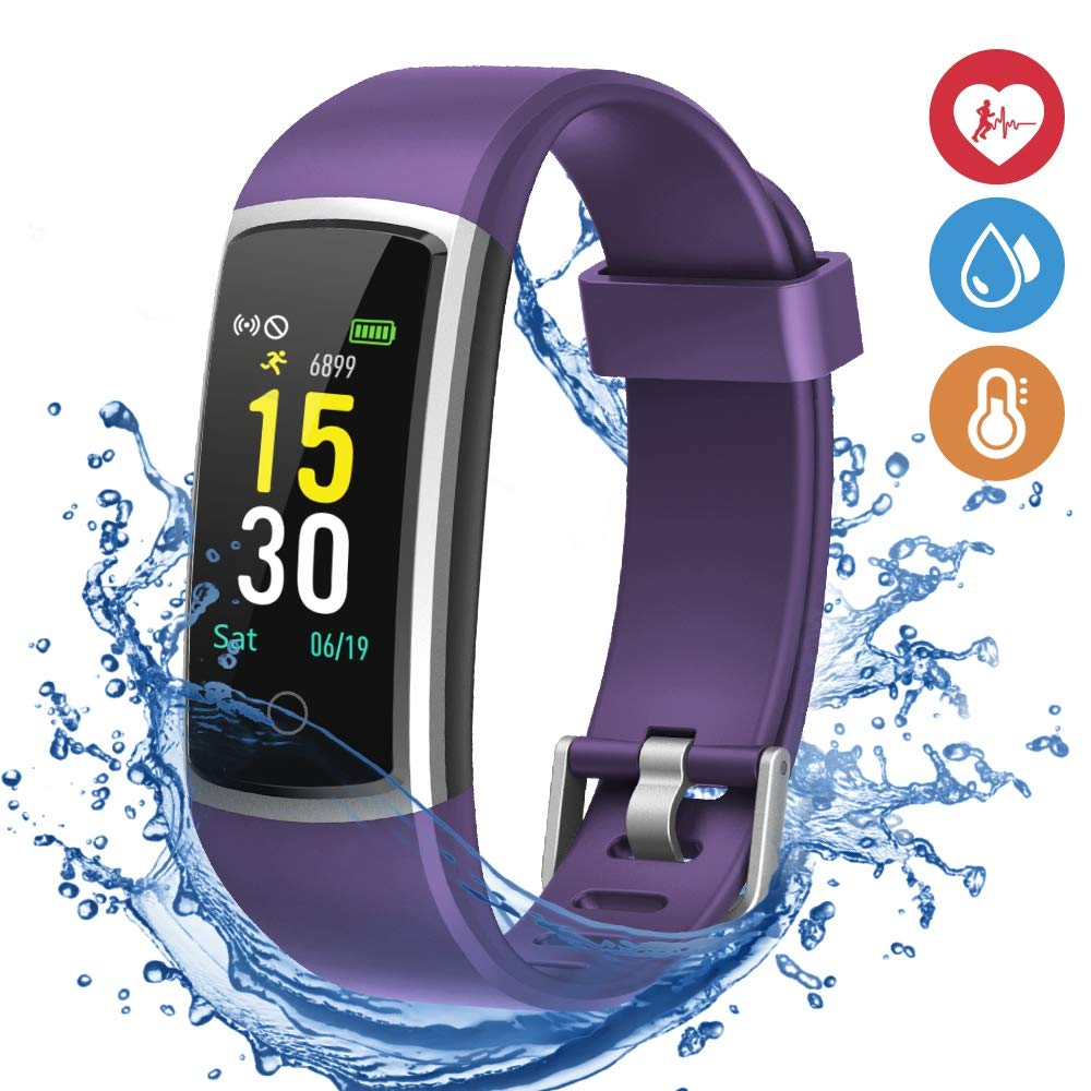 moreFit Waterproof Activity Tracker, Fitness Tracker Color Screen Smart Watch, Blood Pressure Watch With Sleep Monitors, Heart Rate Calorie Pedometers Call/SMS Alert For Women Men Students Kids Purple by moreFit (Image #1)