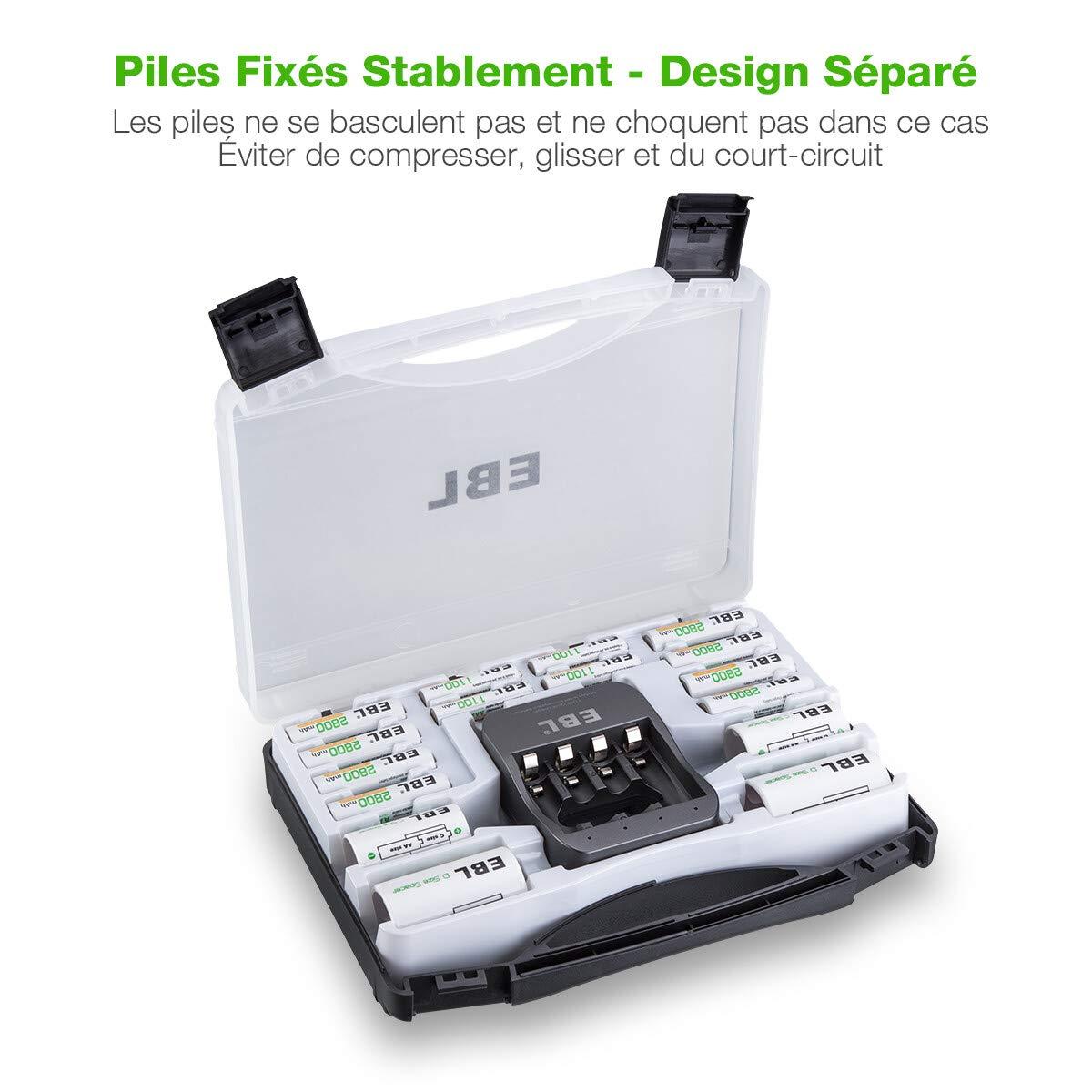EBL Cargador de pilas recargable rápido + 8 pilas AA + 4 ...