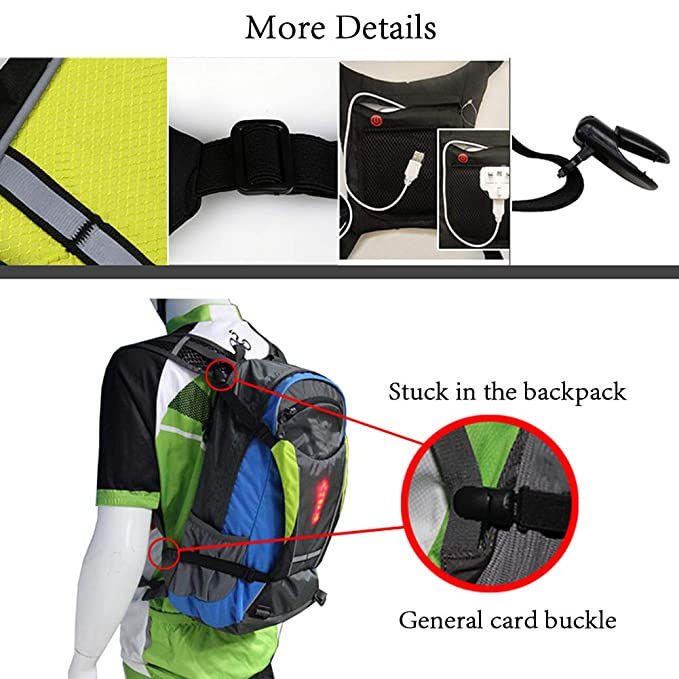 Amazon.com: AK-BAG Knapsack Pendant, with LED Wireless Remote Control Warning Lights/Safety Turn Signal Light, Bicycle Cycling Adjustable Elastic Strap LED ...