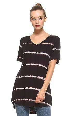 950f4f78392 Frumos Womens Tunic V Neck Short Sleeve Top Black X-Large at Amazon Women's  Clothing store: