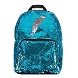 Save on Style.Lab 76596 Magic Sequin! Reversible Turquoise to Silver Fashion Backpack, Turquoise/silver and more