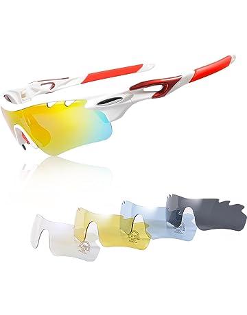 Gafas Ciclismo Polarizadas con 5 Lentes Intercambiables Gafas de Sol  Deportivas Antivaho Antireflejo Anti Viento y 82f7ba958e79