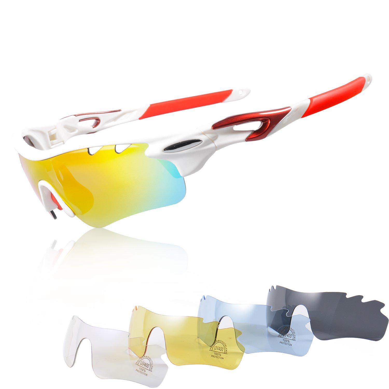 Gafas Ciclismo Polarizadas con 5 Lentes Intercambiables Gafas de Sol Deportivas Antivaho Antireflejo Anti Viento y UV Adaptadas a Deporte Carrera Running Bicicleta MTB para Hombre y Mujer KuKoTi