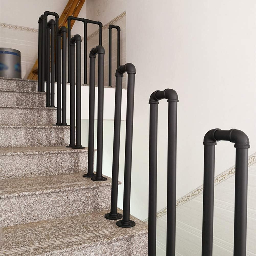 Main Courante Industriel Escalier Balustrades,balustrades Descalier en Forme De U en Fer Noir,Piquets De Garde-Corps,cl/ôture De S/écurit/é De Couloir De Bar Loft Ext/érieur Int/érieur Moderne