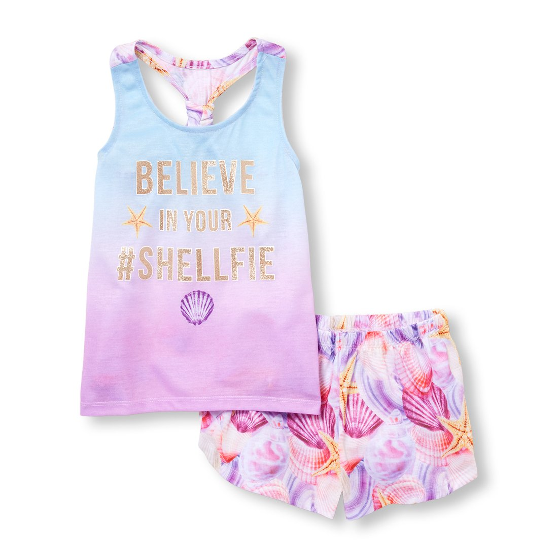 The Children's Place Big Girls' Top and Shorts Pajama Set, Pixiedust, L (10/12)
