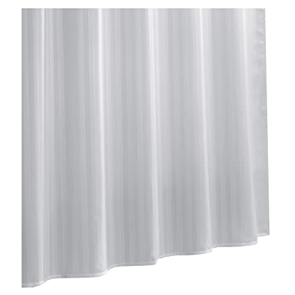 Amazon Ex Cell Damask Stripe Fabric Shower Curtain Liner White