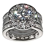 Unique Round-shape 5 Ct. Cubic Zirconia Cz Bridal Wedding 3 Pc. Ring Set with Eternity Bands (Center Stone Is 3.5 Cts.)