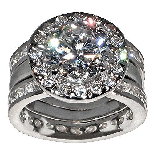 Unique Round-shape 5 Ct. Cubic Zirconia Cz Bridal Wedding 3 Pc. Ring Set with Eternity Bands (Center Stone Is 3.5 Cts.) (6.5)